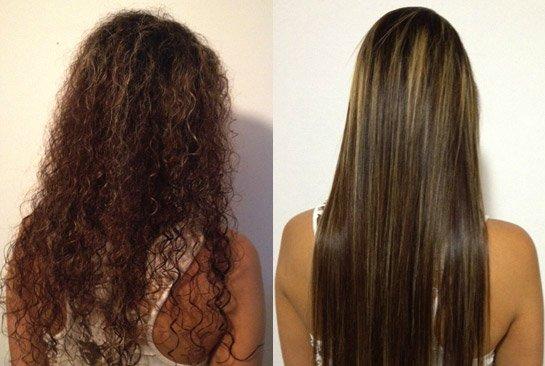 Hair Straightening Flat Iron Or Brazilian Hair Treatment